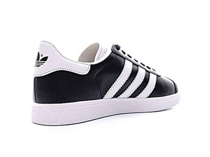 adidas gazelle leather black white купить