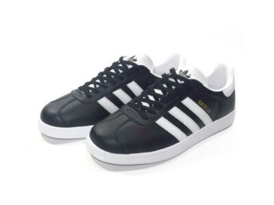 adidas gazelle leather black white купить