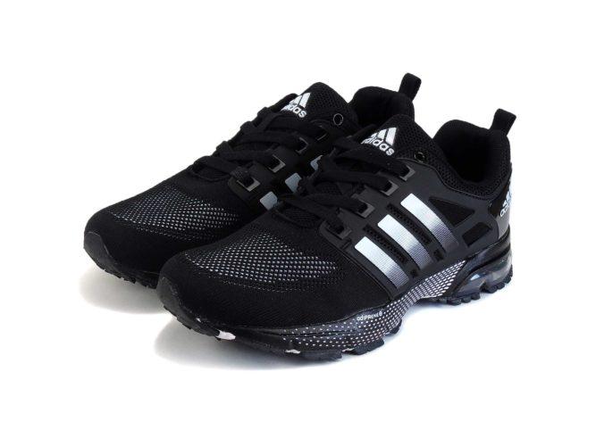 adidas marathon flyknit black white купить